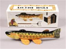 Signed Carl Christiansen Fishing Decoy with Box