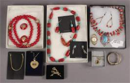 Estate Jewelry with Apple Coral & Heishi Necklace