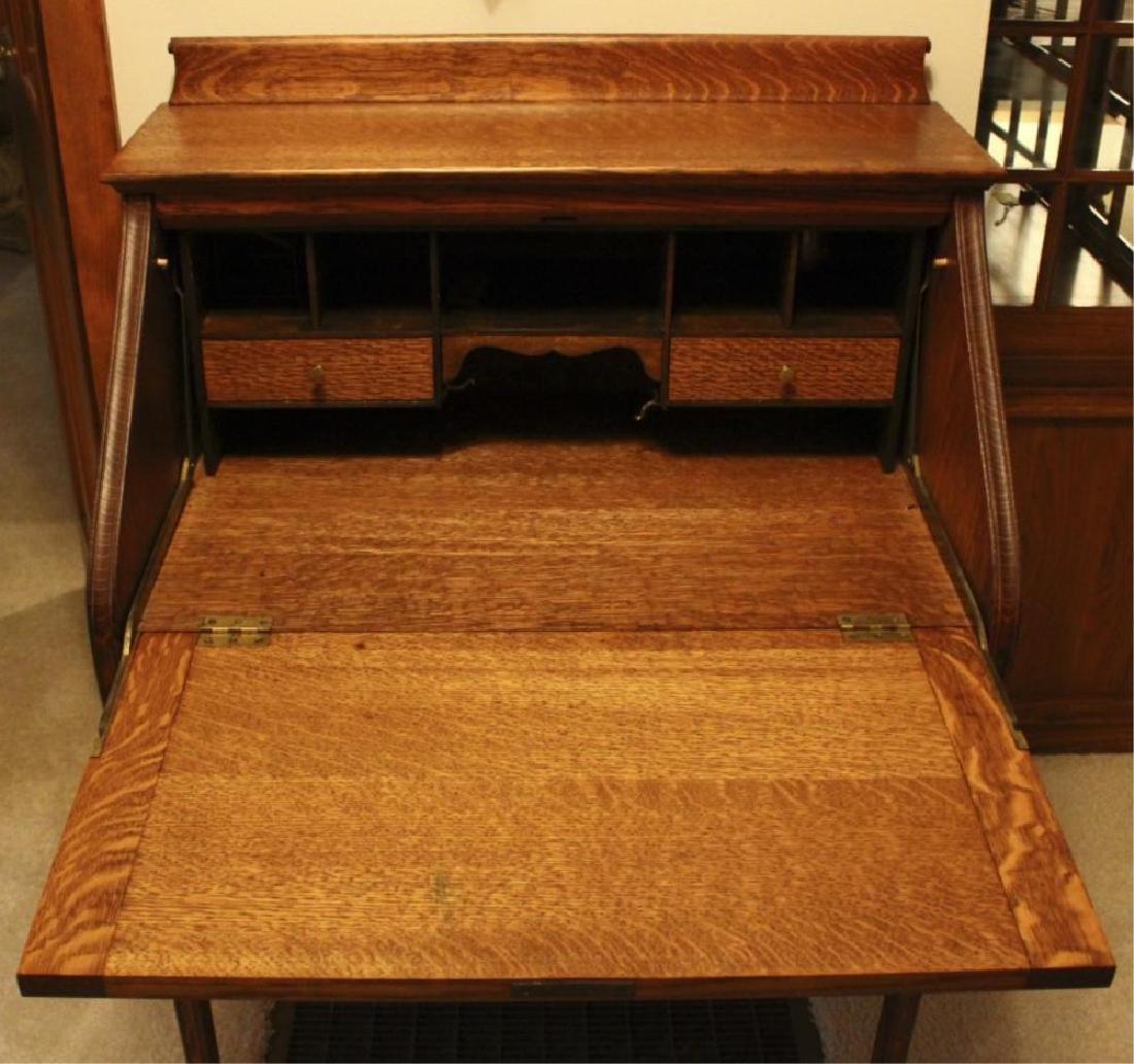 Antique Drop Front Secretary Desk >> Antique Drop Front Tiger Oak Secretary Desk