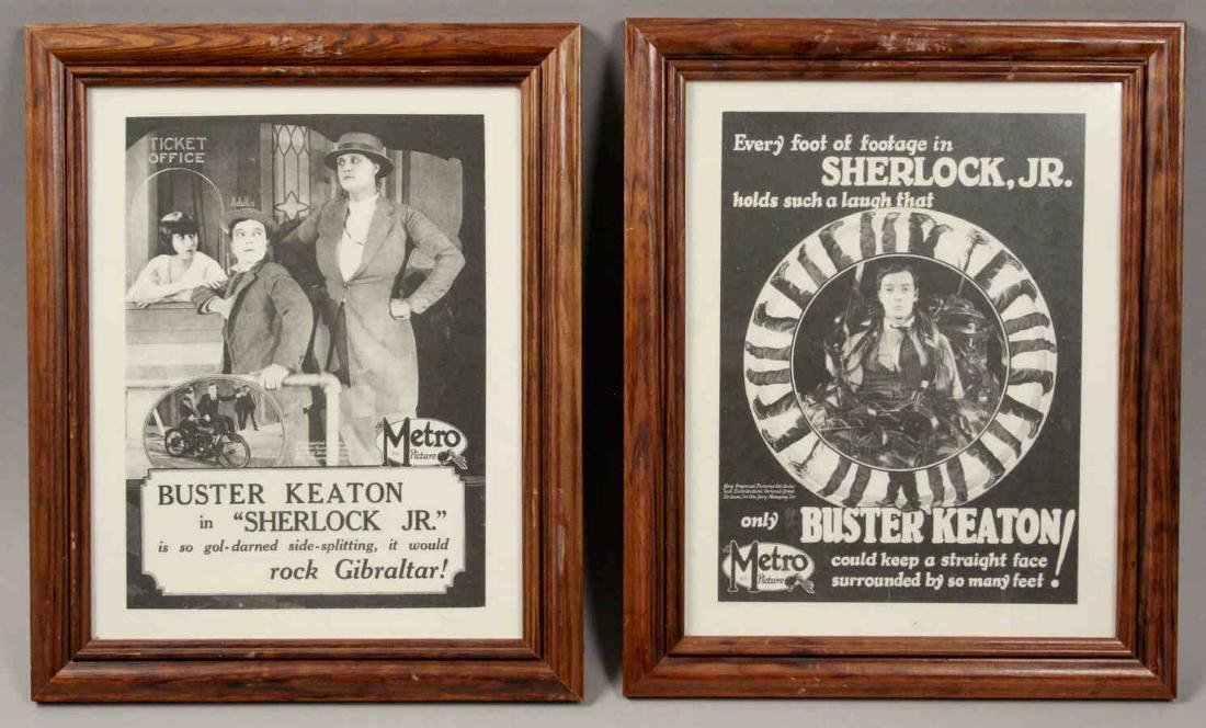 2 Framed Buster Keaton Sherlock Jr. Movie Posters