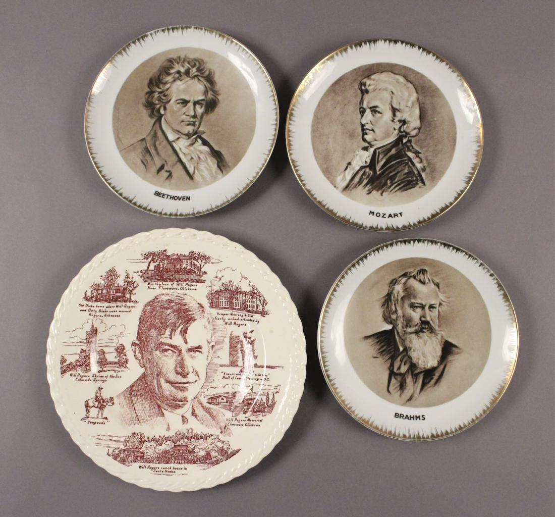 Collectible Plates - Will Rogers - Mozart - Brahms