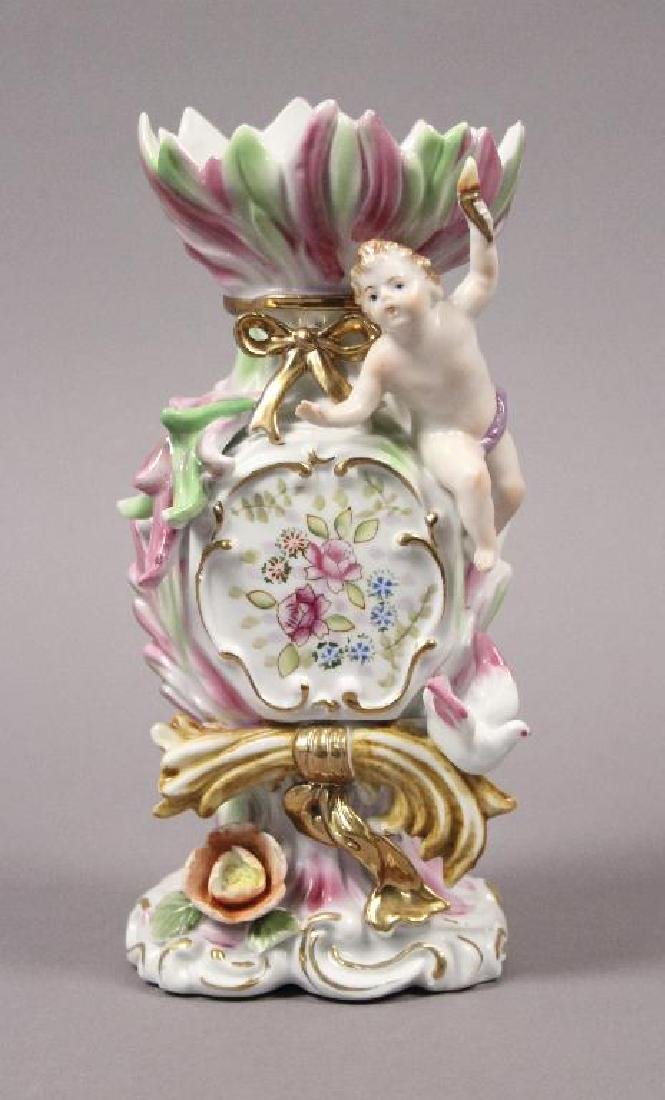 Camille Naudot Porcelain Capodimonte Cherub Vase