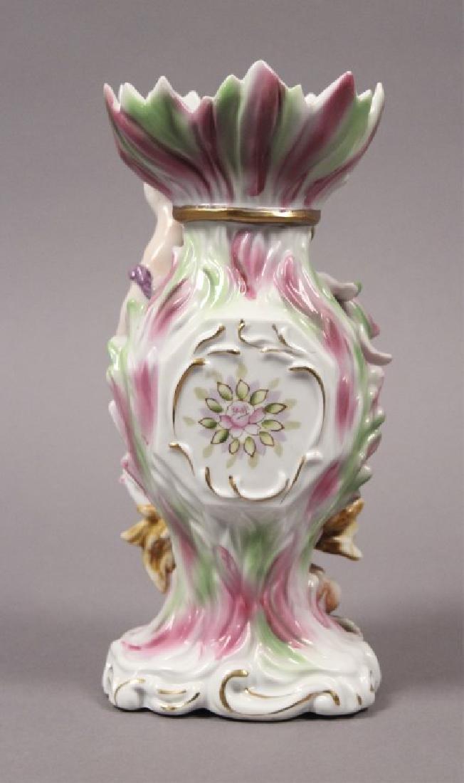 Camille Naudot Porcelain Capodimonte Cherub Vase - 3