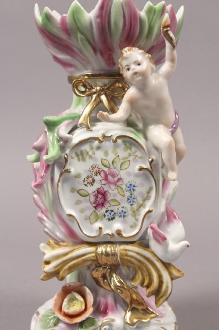 Camille Naudot Porcelain Capodimonte Cherub Vase - 7