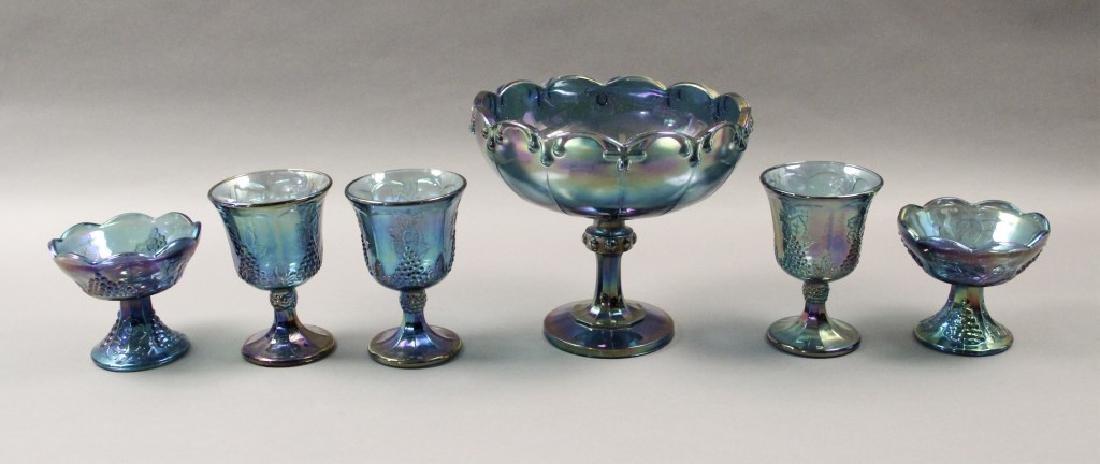 Estate Blue Iridescent Carnival Glass