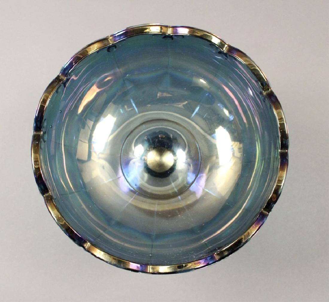 Estate Blue Iridescent Carnival Glass - 4