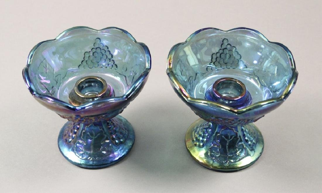 Estate Blue Iridescent Carnival Glass - 6