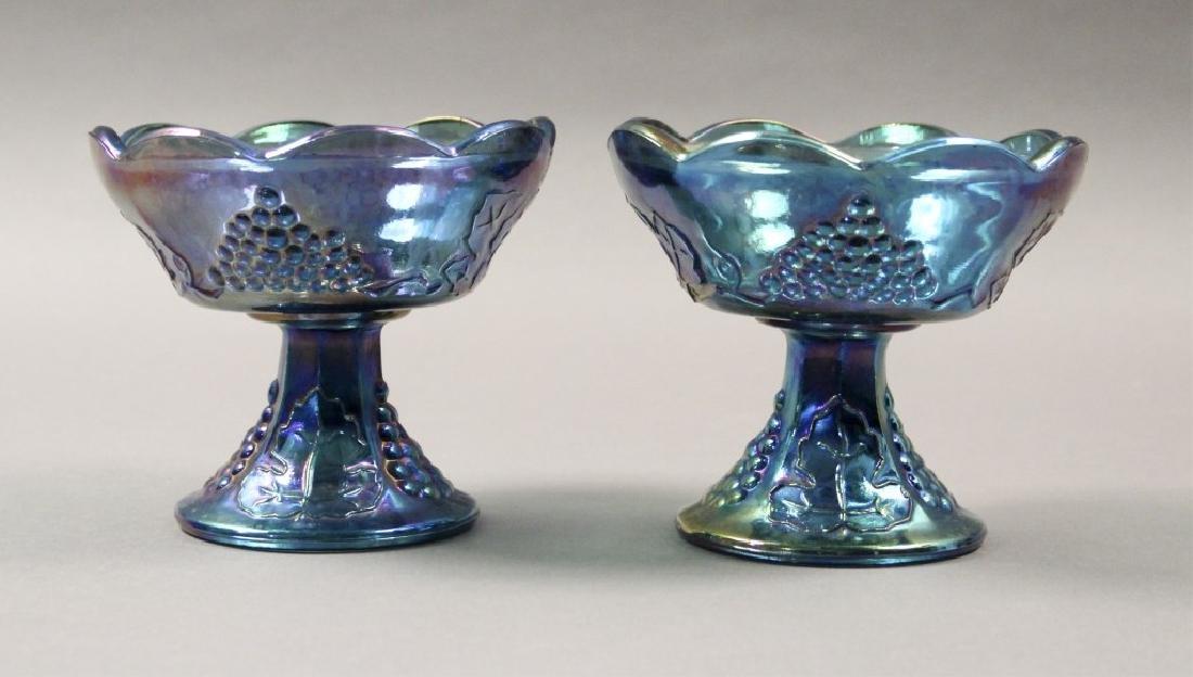 Estate Blue Iridescent Carnival Glass - 7