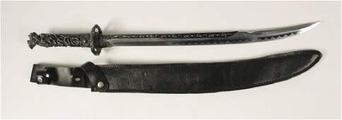 Dragon Snake Engraved Metal Handled Sword