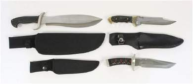 3 Fixed Blade Knives with Sheaths