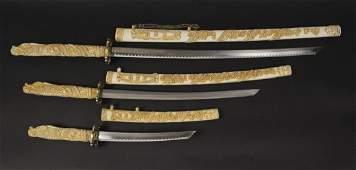 3 Dragons Head Swords with Sheaths