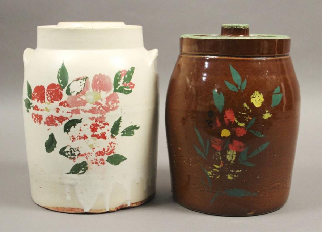 2 Vintage Ceramic Floral Cookie Jars