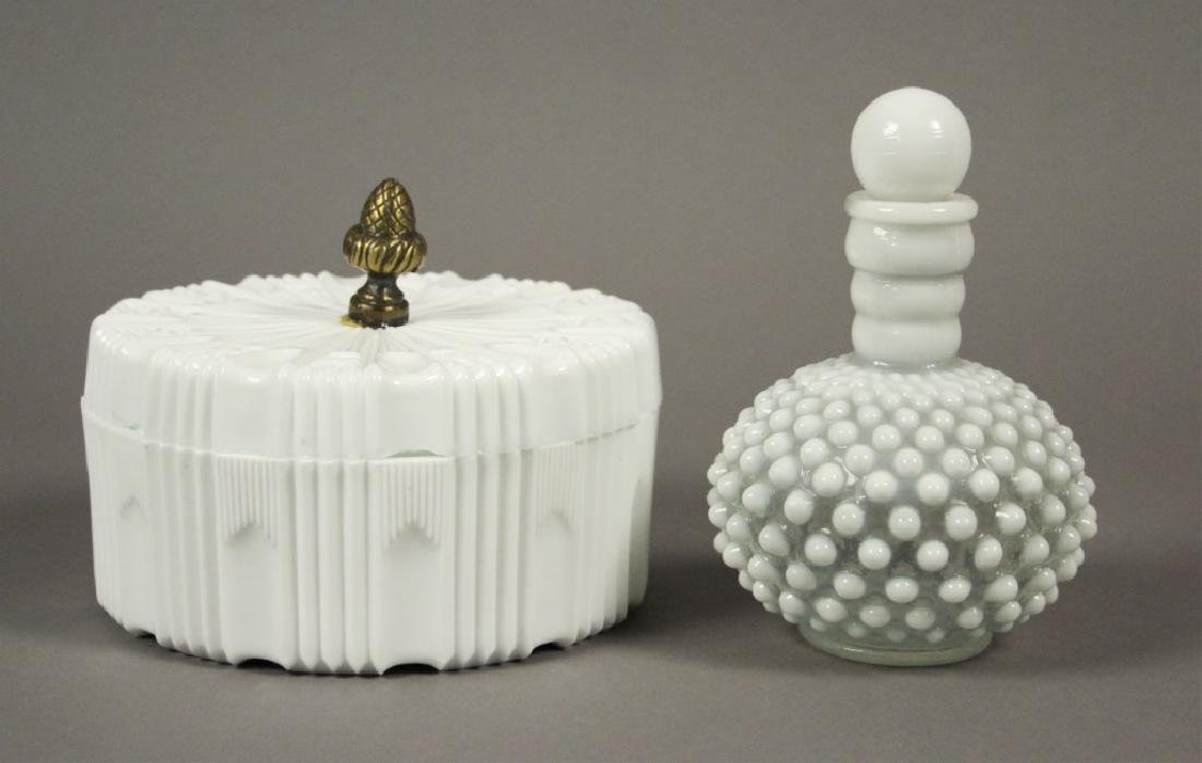 Vintage Milk Glass Candy Dish & Hobnail Decanter