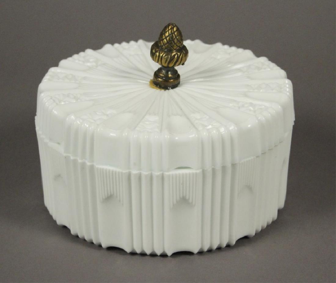 Vintage Milk Glass Candy Dish & Hobnail Decanter - 3