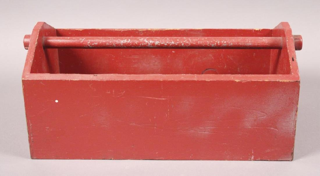 Vintage Red Painted Wood Tool Box
