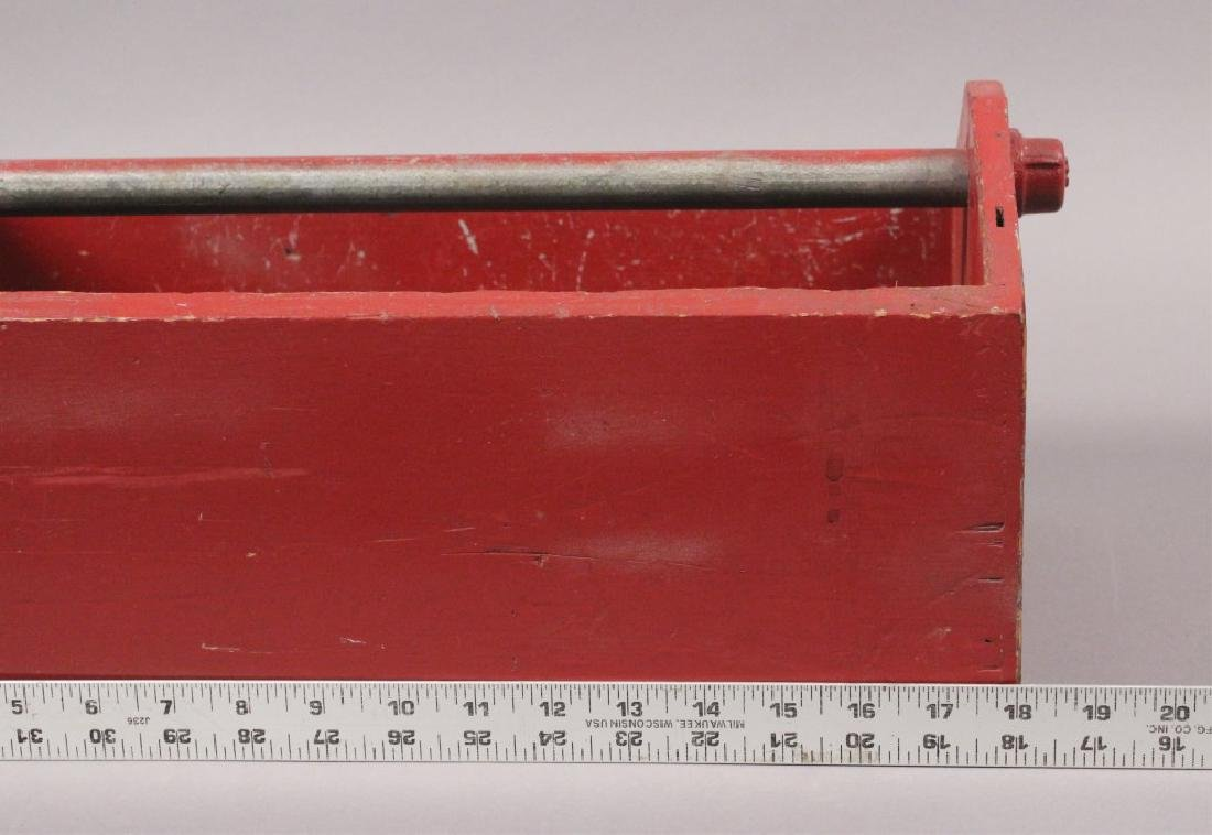 Vintage Red Painted Wood Tool Box - 4