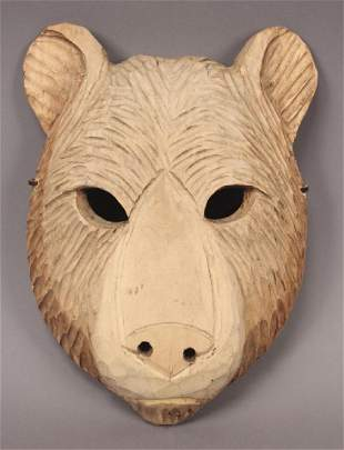 Hand Carved Wooden Bear Mask