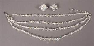 Antique Crystal Necklace Matching Earrings