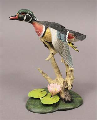 2002 Flying Free Flying Wood Duck Sculpture