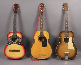 3 Acoustic Guitars with Music Book