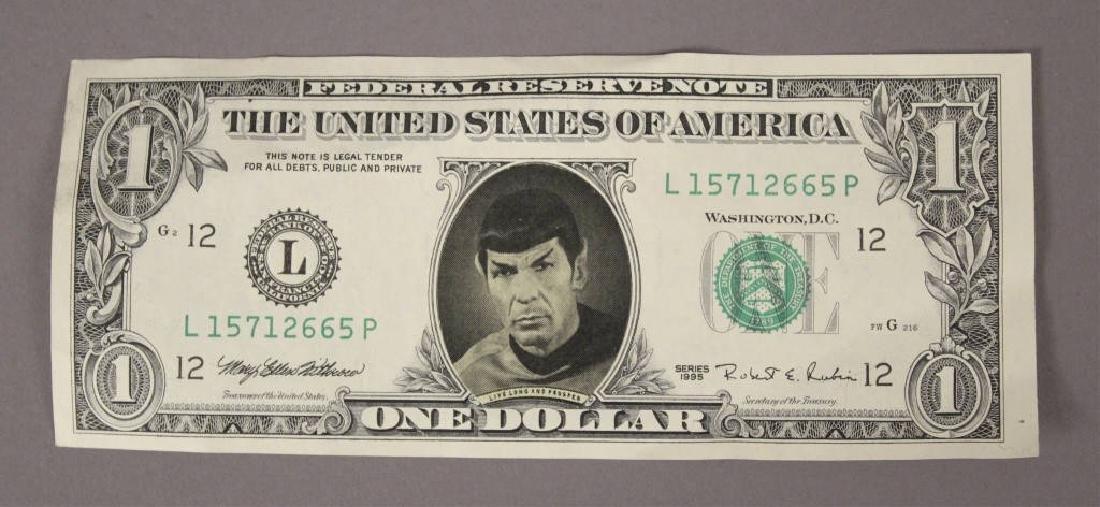REAL $2 Mr Spock Bill with SIGNATURE Leonard Nimoy Star Trek Money Dollar