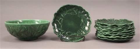Set of Green Leaf Salad Bowl  11 Salad Plates