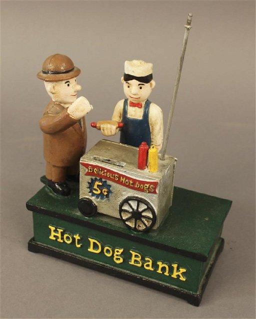 Vintage Hawthorne Cast Iron Hot Dog Cart Bank