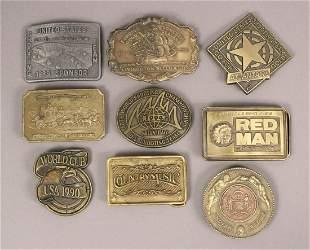 9 Vintage Collectible Metal Belt Buckles