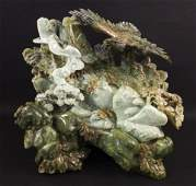 Large Chinese Jade Eagle on Rocks Sculpture 127 lb.