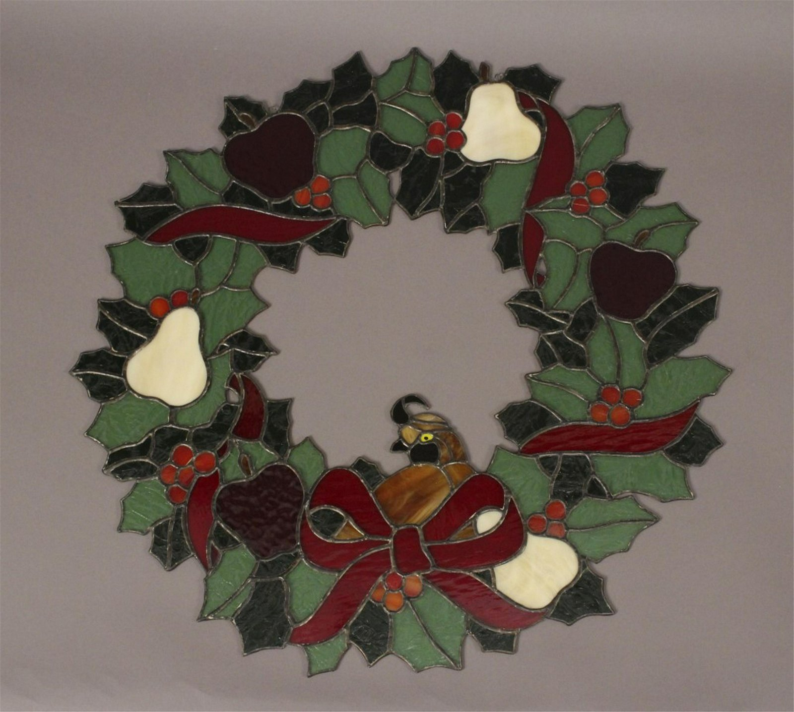 Stained Glass Partridge in a Pear Tree Wreath