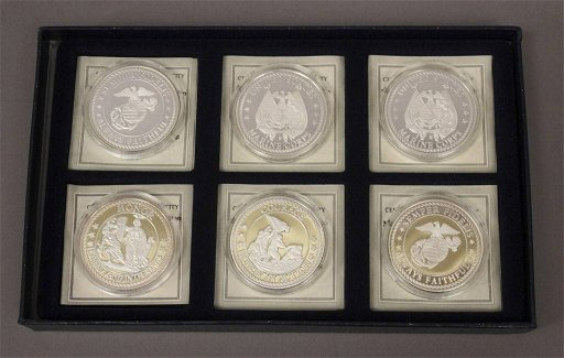 6 American Mint United States Marine Corps Coins