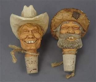 2 Carved Characters Wine Cork Bottle Stoppers
