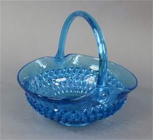 """Vintage Blue Hobnail Glass 10"""" Basket"""