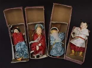 4 Vintage 7 Asian Paddle Marionettes