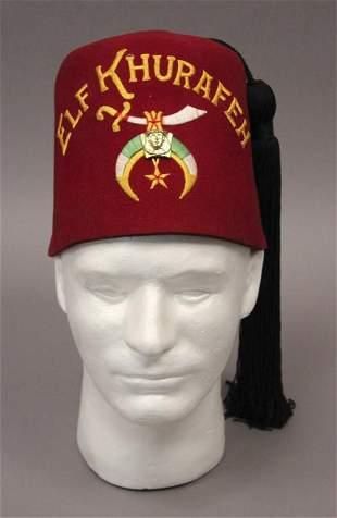 Elf Khurafeh Fez Hat With Rhinestone Sword Pin