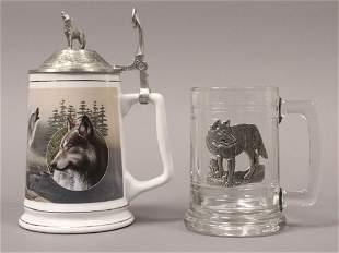 Wolf Tankard Glass Stein