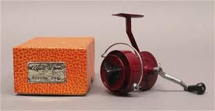 Vintage Red Aqua Spin Reel with Box Papers