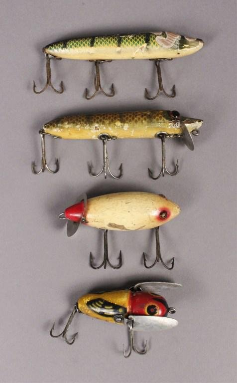 4 Vintage Heddon Fishing Lures Inc. Crazy Crawler