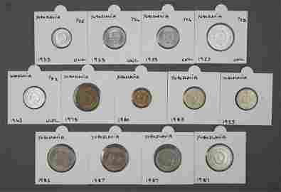13 Assorted Yugoslavia 1950's - 1980's Coins