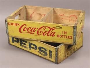 Vintage Coca Cola & Pepsi Bottle Wooden Crates