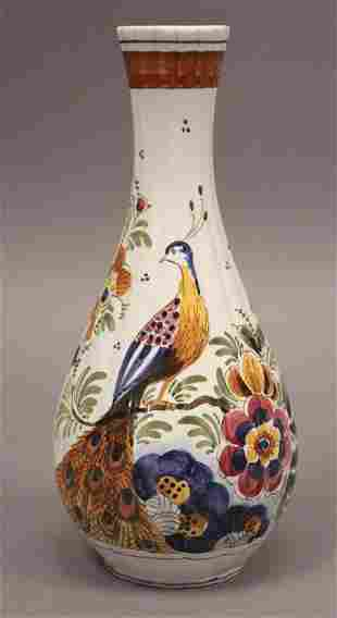 """Decorative Peacock Signed Vase - 10"""" Tall"""