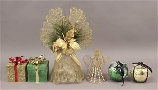 Assorted Christmas Items Angels Boxes Bulbs