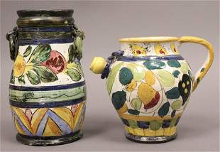 Italian Painted Clay Vase Pitcher