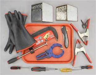 Assorted Tools Clamps Bits Gloves