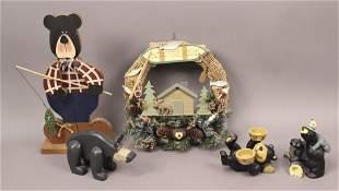 Outdoor Bear Decor Wreath Candle Holders