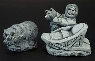 Alaskan Black Soapstone Figurines - Eskimo - Bear