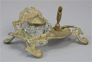 Vintage Victorian Brass Desktop Ink Well