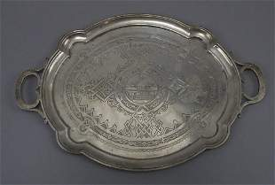 Russian Marked Sterling Silver Tray