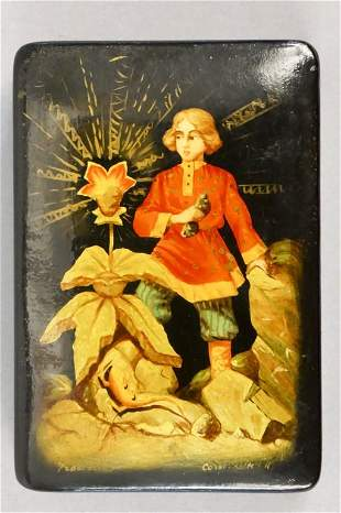 Russian Lacquer Box Boy with Flower w/ Certificate