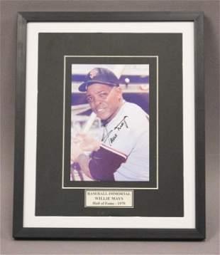 Willie Mays Autographed Baseball Photo
